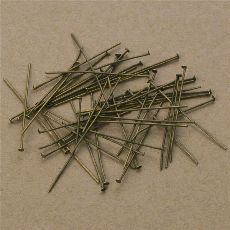 200 pcs/lot Panjang 40 50mm Datar Kepala Pins Dia 0.7mm (21 gague) Antique Bronze/Emas/Warna Silver Headpins untuk Membuat Perhiasan