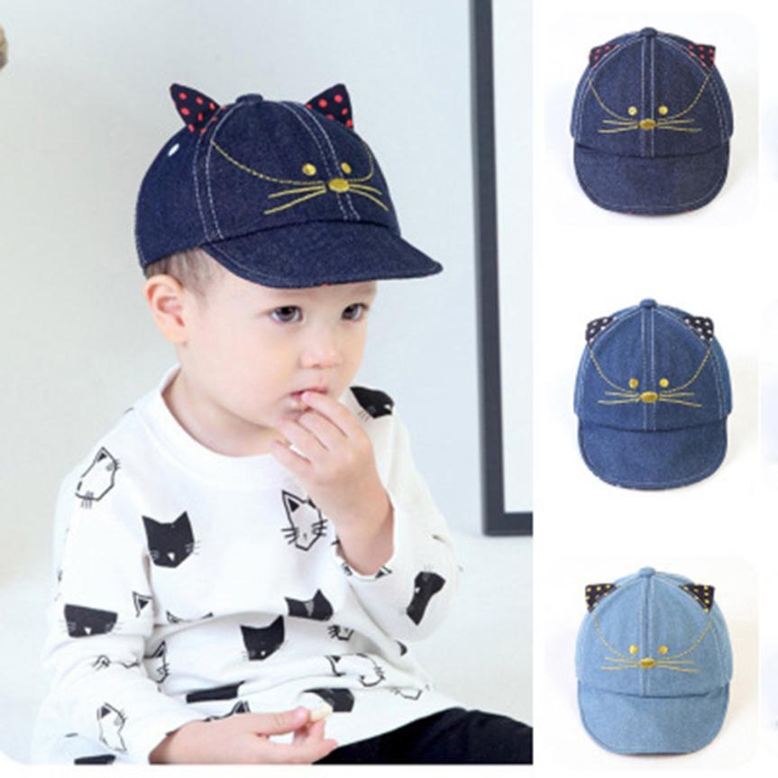 Милые дети удобные bongrace котенка мультфильм шляпа Кепки детские бейсболки touca Casquette Gorras casquette-де-бейсбол