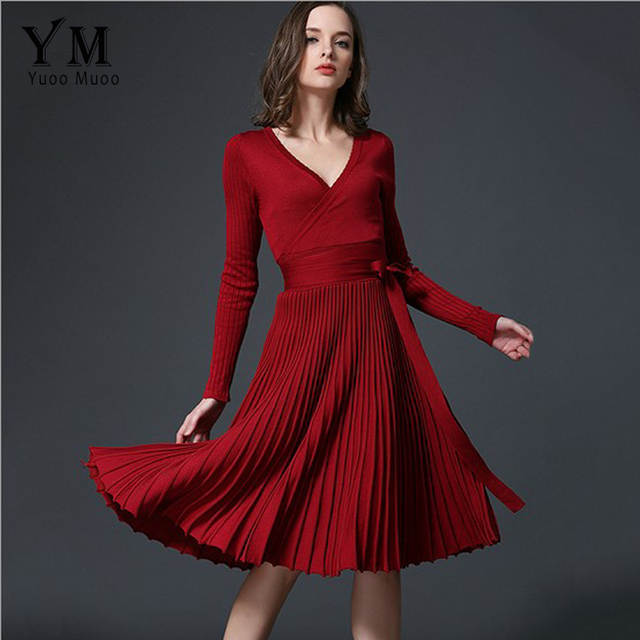 1ffb5a3c1b227 US $25.29 40% OFF|YuooMuoo European Design Elegant Autumn Dress V neck  Women Casual Long Sleeve Knitted Dress Brand Fashion Pleated Ladies  Dreses-in ...