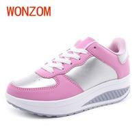 WONZOM Fashion Women Spring Autumn Height Increasing New Waterproof Platform Casual Vulcanized Shoes For Ladies Female