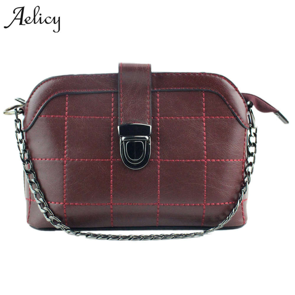 Aelicy Luxury PU Leather Messenger Bag Women Vintage Plaid Ladies Crossbody  Bag Chain Candy Color Small Flap Shopping Handbag 173676a726897