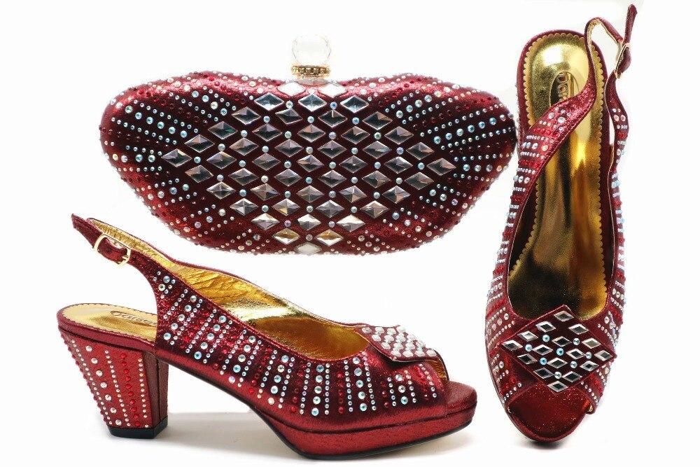 Элегантный цвета красного вина цвет обувь и сумка в комплекте с набором подходящих сумочек Африканский стиль asi ebi; обувь на низком каблуке и сумка; Размеры 3 дюйм (ов); босоножки и клатчи SB8336 3