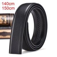 35 мм Ширина ремня без пряжки 140 см 150 см плюс размер удлиненный мужской ремень из натуральной кожи ремешок для автоматической пряжки черный