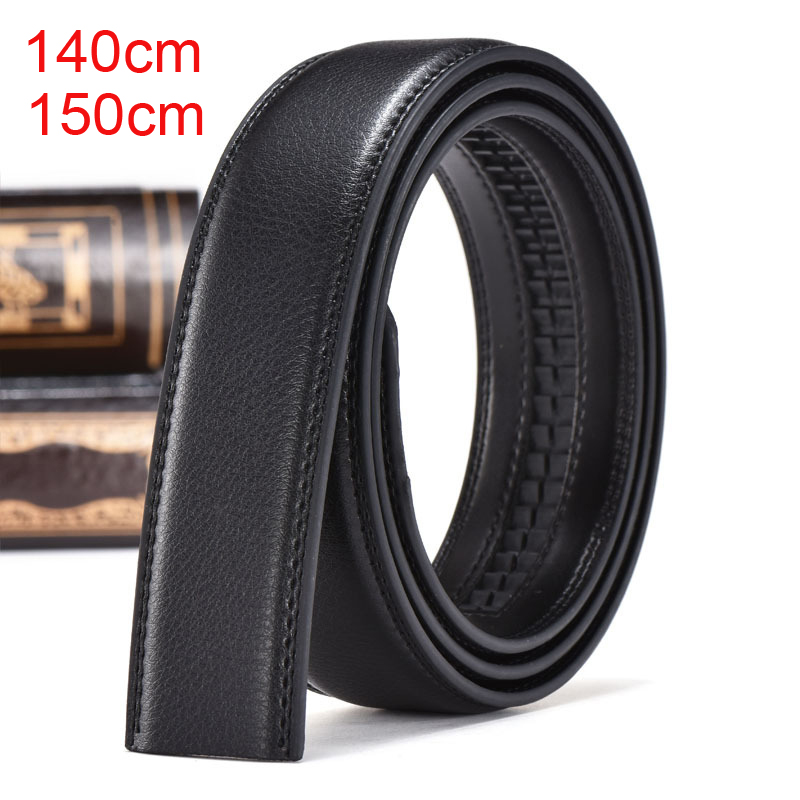 35mm Width   Belt   Without Buckle 140cm 150cm Plus Size Extra Long Men   Belt   Genuine Leather Strap For Automatic Buckle Black