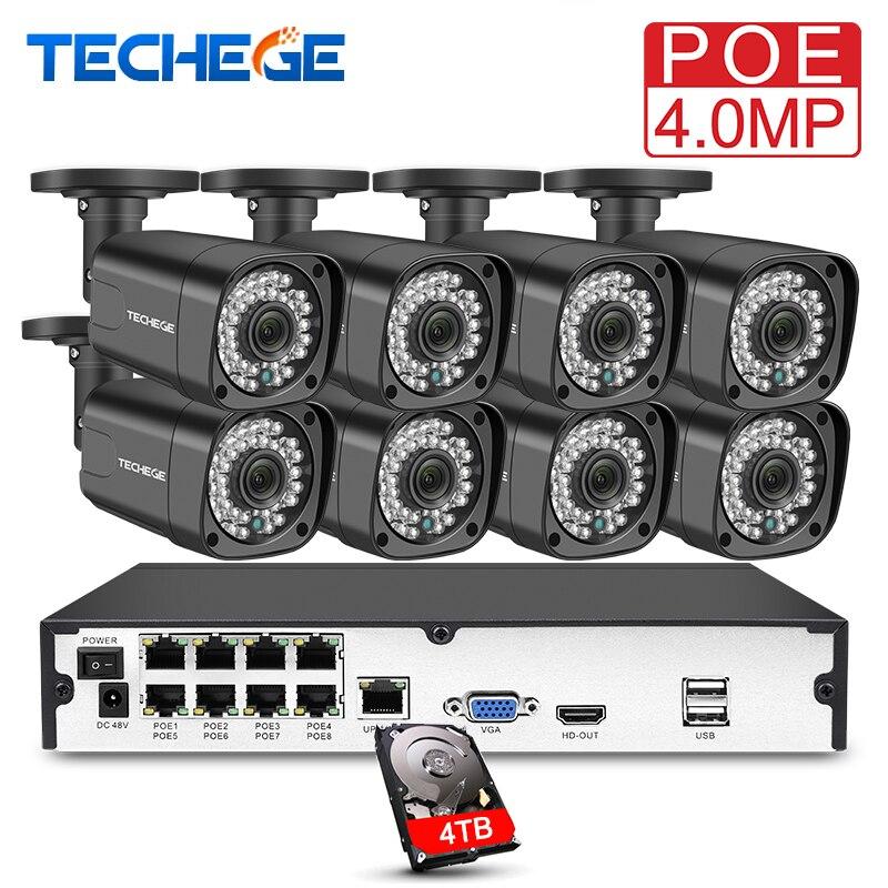 Techege 8CH h.265 4MP Vidéo Caméra Système Kit 8 pcs IP Caméra 2560*1440 Étanche Surveillance Extérieure Kit PoE kit de Surveillance