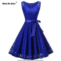 When We Retro Elegant Lace Dress Women Ladies Summer Vintage Swing Party vestidos White Blue Red Plus Size Casual Dress VD0949