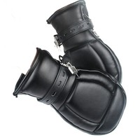 Soft Padded Black PU Leather Bondage Mitts Puppy Mitts Hand Cuffs BDSM Bondage Restraints Mitten With