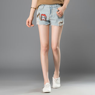 2016Aliexpress Women's Fashion Brand Vintage Tassel Ripped Loose Waist Mid Jeans Punk Sexy Hot Woman Denim Shorts Summer Clothes