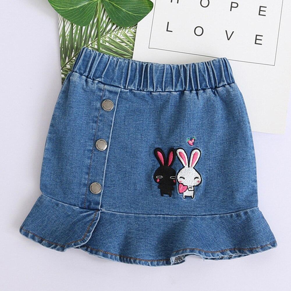 bda94fe22 Babyinstar niñas Ruffled vaquero faldas 2019 niños faldas de mezclilla  niñas lindo conejo patrón faldas niños ropa de Jean Casual