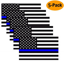 11.4 X 6.35cm Car Styling American Flag Sticker Honor Police Enforcement Window Bumper Stickers (5 Pack)