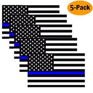 Image 1 - 11,4X6,35 cm Auto Styling Amerikanische Flagge Aufkleber Ehre Polizei Durchsetzung Fenster Auto Aufkleber (5 Pack)