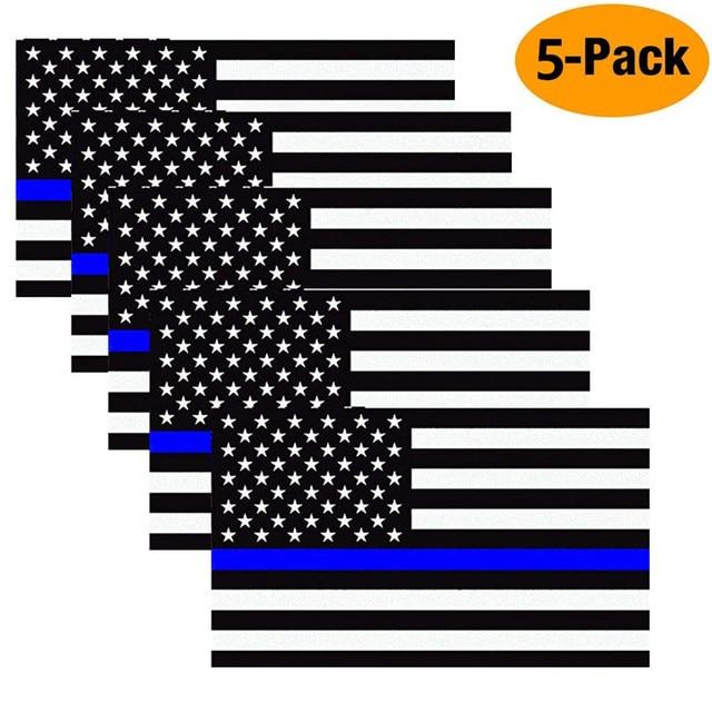 11,4X6,35 cm Auto Styling Amerikanische Flagge Aufkleber Ehre Polizei Durchsetzung Fenster Auto Aufkleber (5 Pack)