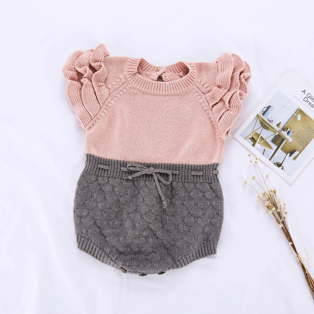 2019 ins Infant Girls Knit Rompers Ruffles Sleeve Candy Gray And Pink Color Toddler Kids New