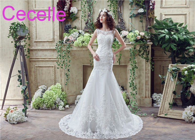 Mermaid Long Wedding Dresses 2018 Jewel Sleeveless Beaded Lace ...