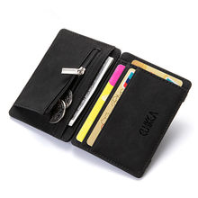 Ultra Thin New Design Mens PU Leather Wallet Mini Magic Wallets And Zipper Coin Purse Plastic Credit Card Case Holder Coin Pouch(China)
