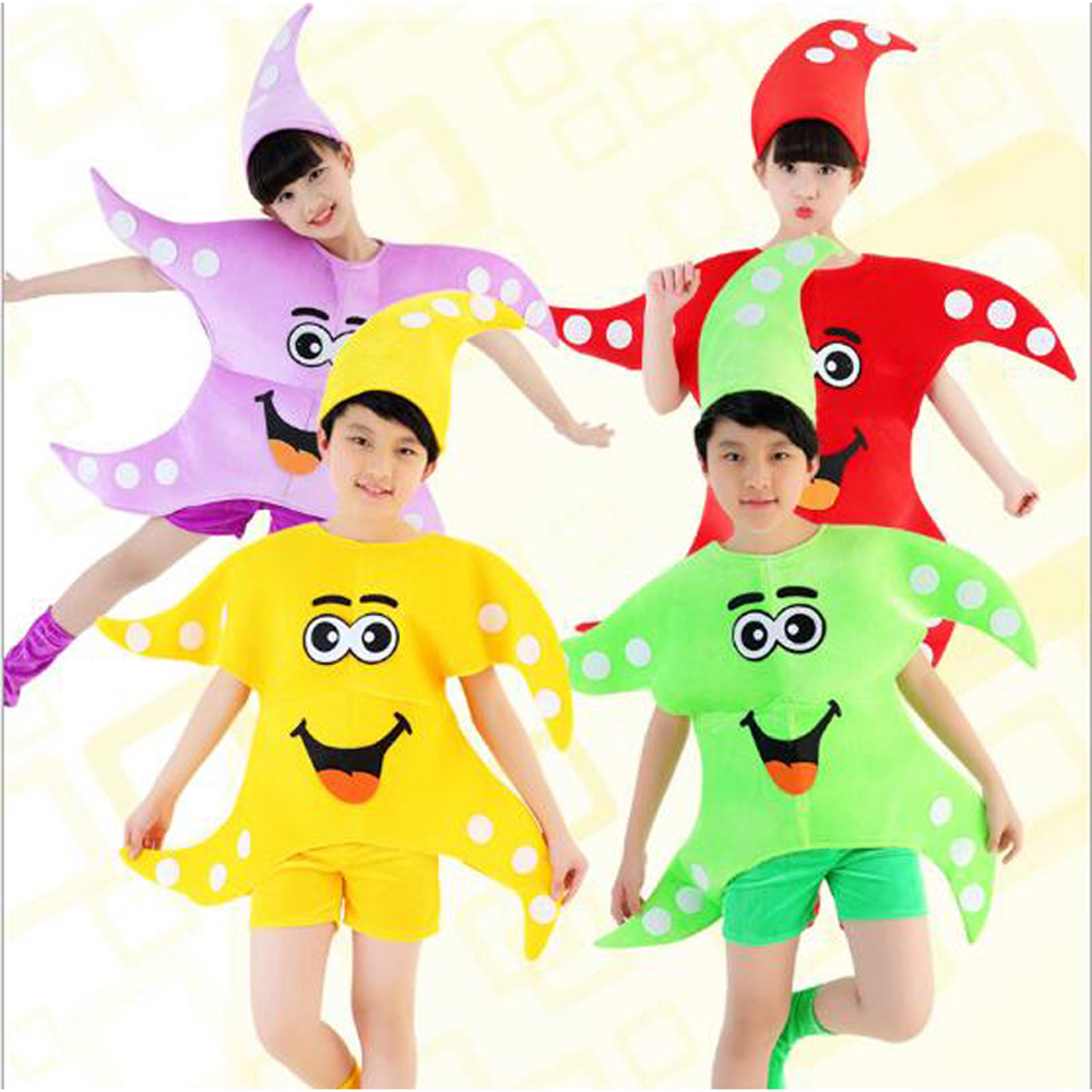 2017 New Boys Girls Starfish Stage Show Clothes Anime Performance Wear Starfish Suit Halloween Costume for Kids Size 110-140cm