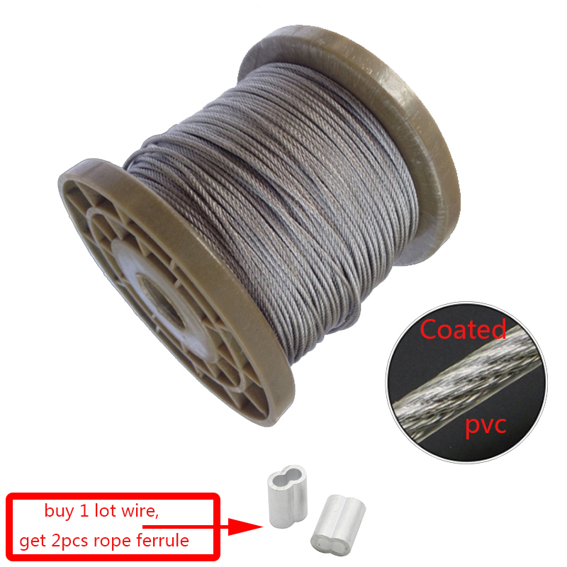 5 Meter 0.6mm 0.8mm 7x7 Steel PVC Coated Flexible Wire Rope Soft Cable Transparent Stainless Steel Clothesline Diameter