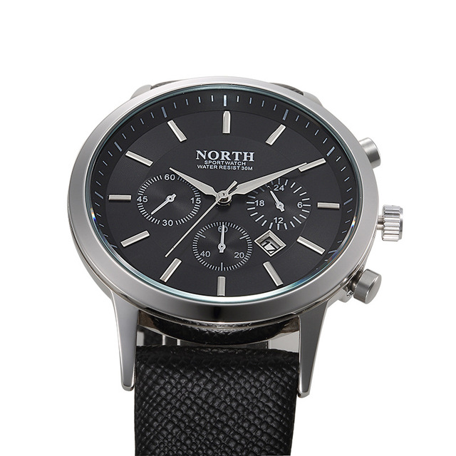 Brand North Fashion Black Men Watch Classic Casual Auto Date Quartz Man Business Casual Sport Clock Unique Men's Gift Wristwatch