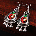 Ethnic Jewelry Fabric Art Embroideried Earring Handmade Embroidery Tibetan Silver Bells Dangler Eardrop Earing Women Accessories