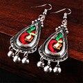 Joyería étnica Arte Tela Embroideried Campanas Bordado Hecho A Mano de Plata Tibetana Pendiente Dangler Gota Para El Oído Earing Mujeres Accesorios