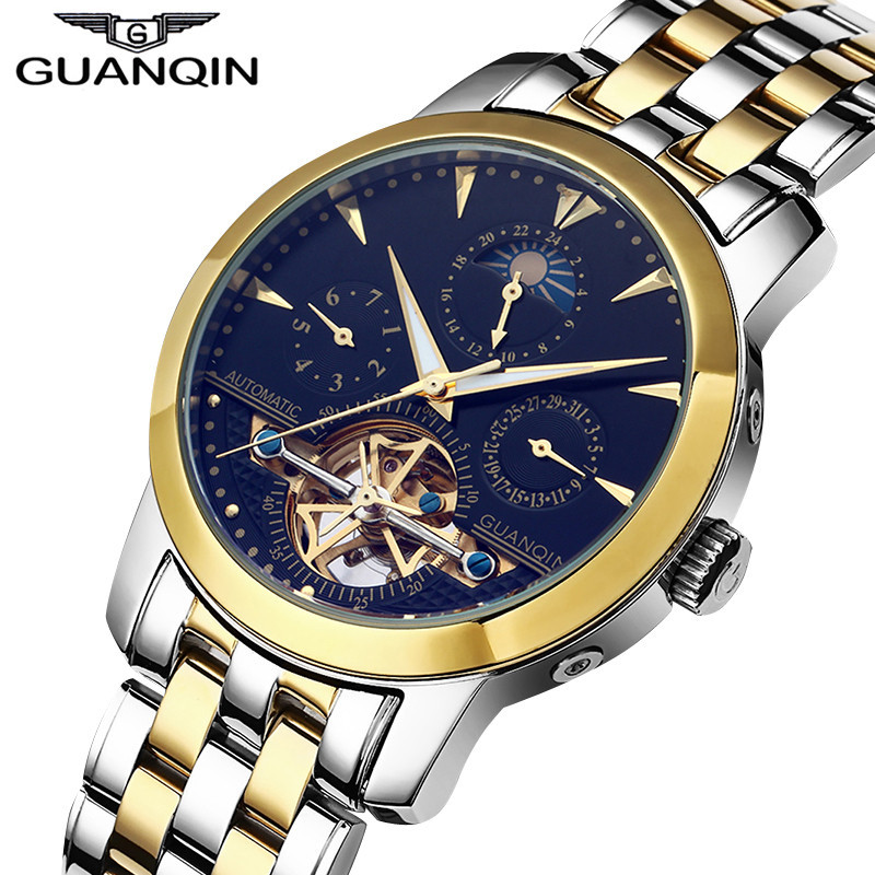Watch Mechanical GUANQIN Watch Male Luminous Moon Phase Calendar Date Automatic Self-wind Skeleton Tourbillon Mechanical Watch цена 2017