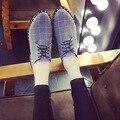 2017 Новый Дизайнер Оксфорд Обувь Для Женщин Plaid Pattern Холст дамы Квартиры Острым Носом Зашнуровать Женская Обувь Оксфорды С заклепки
