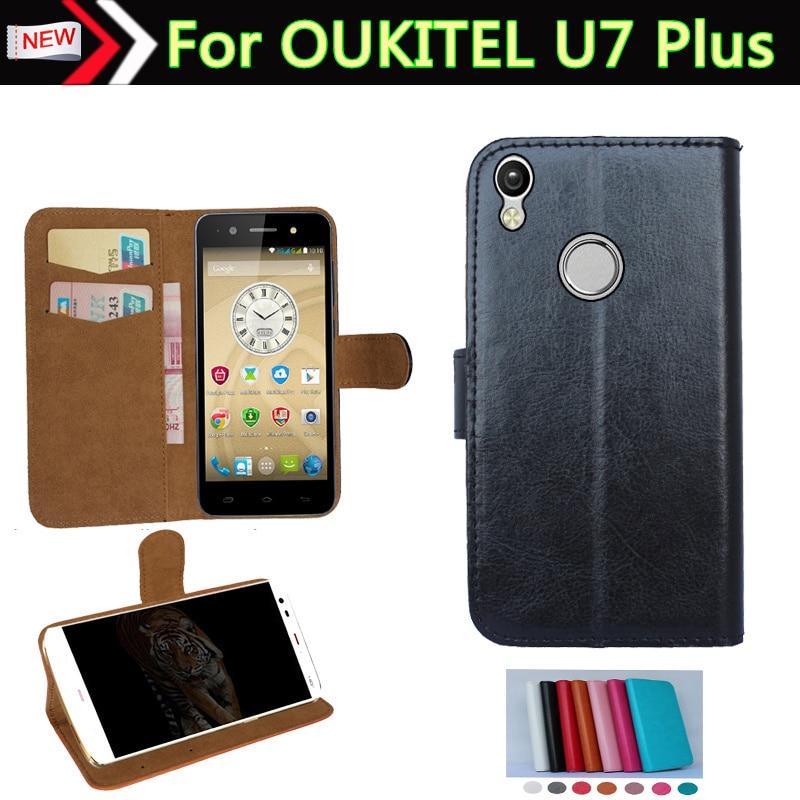 Galleria fotografica OUKITEL U7 Plus Case, Flip En Cuir Smartphone Couverture Case Pour OUKITEL U7 Plus Phone Pouch Cover Card Wallet Slots 7 Couleurs