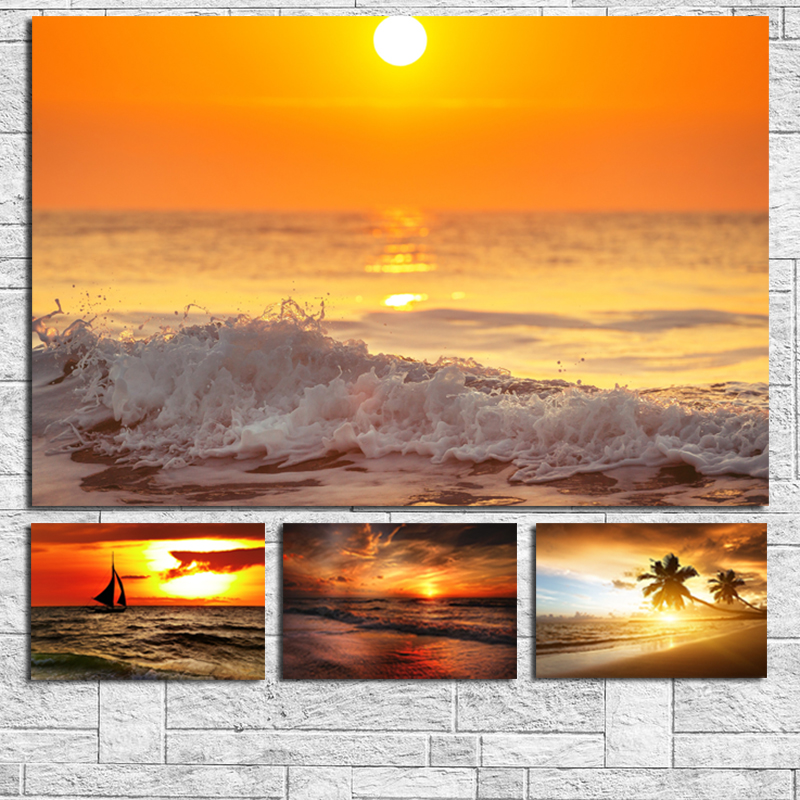 Sunsets Natural Sea Beach Wall Art Canvas Posters Prints Landscape Painting Oil Wall Pictures For Living Room Modern Home Decor