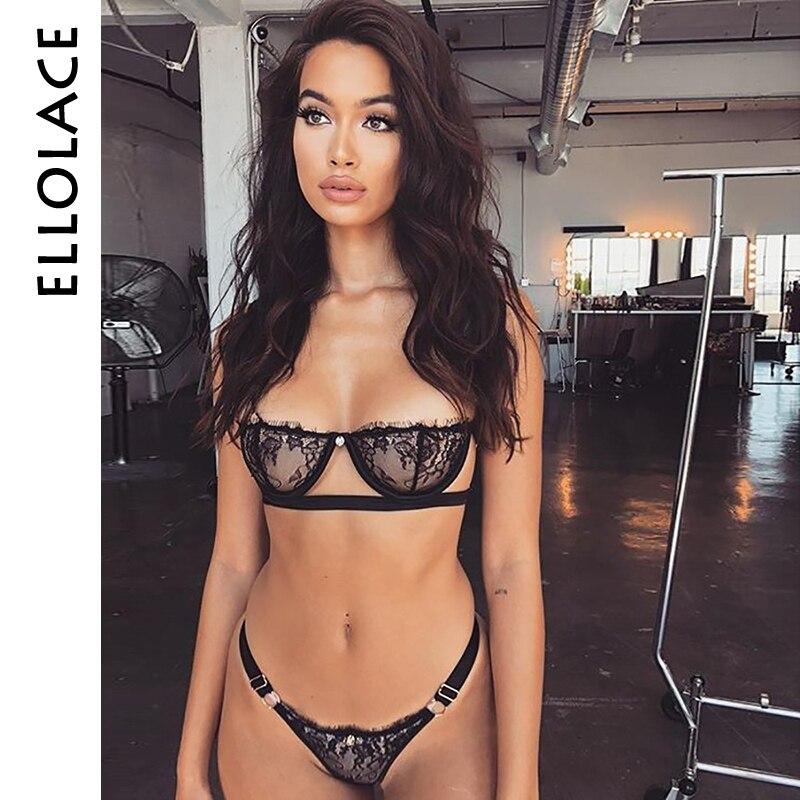 Ellolace Sexy Women   Bra     Set   Push Up bikini Underwear Suit Low Cup Balck Transparent Lenceria Femenina Strap Women Sexy   Bra     Set