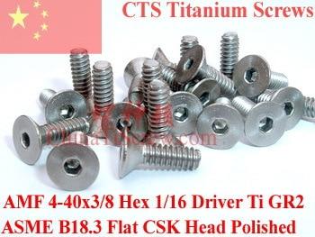 Titanium screws 4-40x3/8 Flat CSK Head Hex 1/16 Driver Ti GR2 Polished 50 pcs