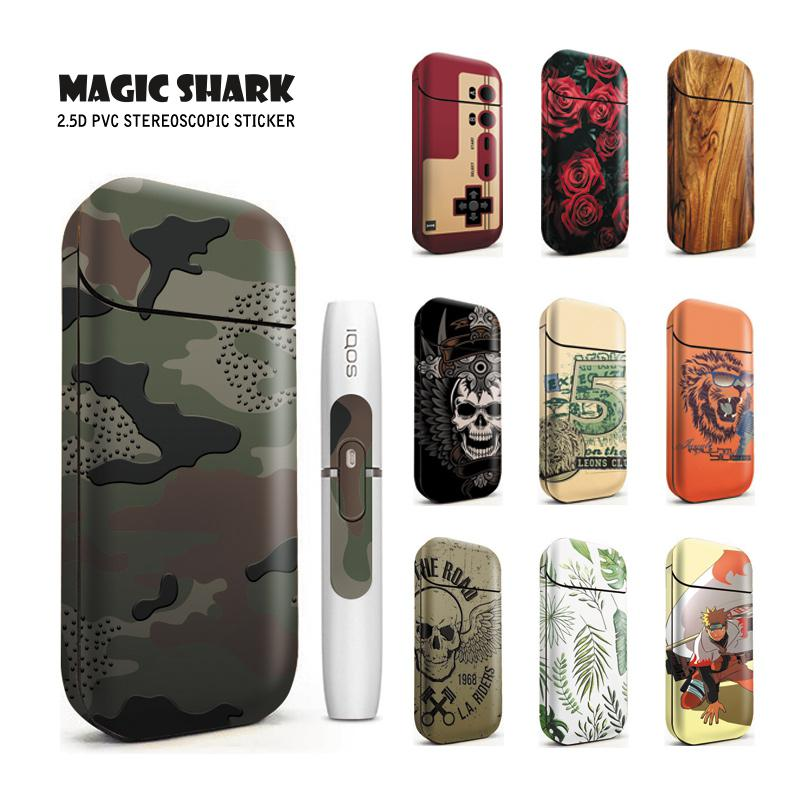 Magic Shark Skull Wood Print Rose Naruto Game Boy Berry Sticker Flim For IQOS 2.4 Plus 2.4p Case Cover For IQOS 2.4 Plus