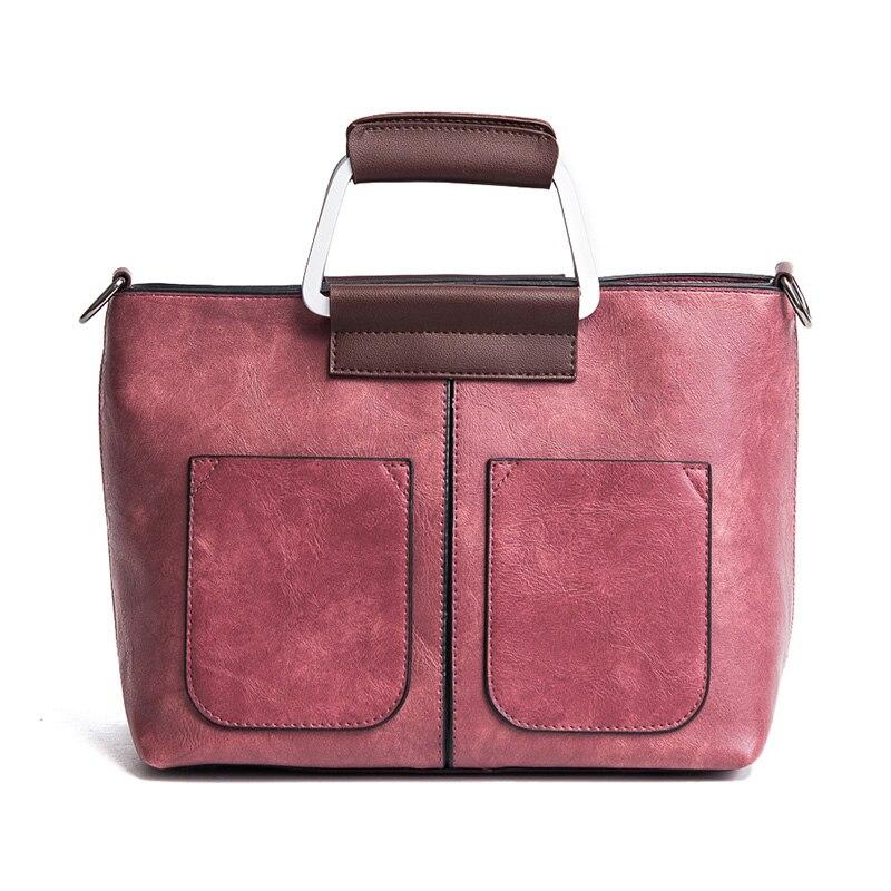 Vintage Women Handbags PU Leather Designer Fashion Casual Messenger Bag Large Capacity Shoulder Bag Totes bolsa feminina in Shoulder Bags from Luggage Bags