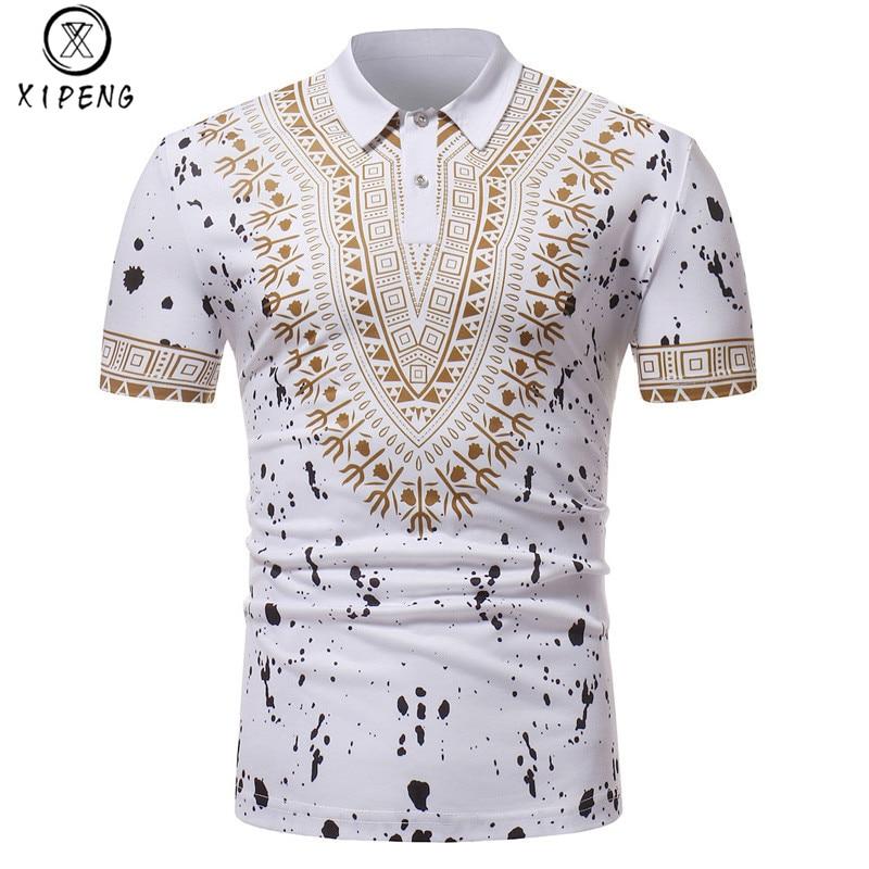 White Splash Ink Print   Polo   Shirt Men 2018 Fashion African Dashiki Slim Short Sleeve   Polos   Para Hombre Casual Business Man   Polos