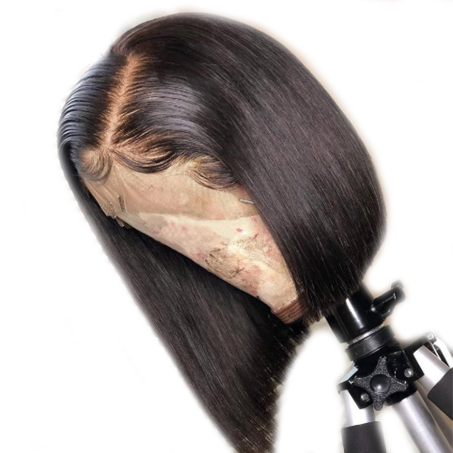 Remy 13 4 Brazilian Lace Front Human Hair Wigs Straight Bleached Knot Short Cut BOB Wig