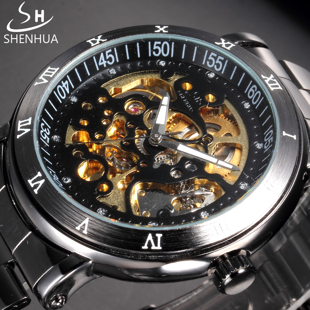 SHENHUA Skeleton Mechanical Watches Black Stainless Steel Band Transparent Automatic Watch Men Clock Black Male Wristwatch shenhua brand black dial skeleton mechanical watch stainless steel strap male fashion clock automatic self wind wrist watches