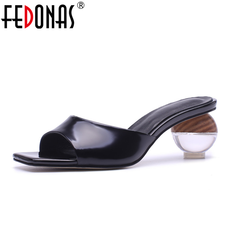 FEDONAS Women Sandals Fashion Thick High Heels Summer Women Slippers Genuine Leather Shoes Gladiator Party Sexy Dress Sandals набор насадок барабанов для мясорубок philips hr 7996 00