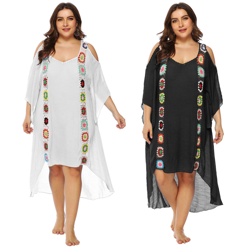Pareo Beach Cover Up Saida De Praia And Dresses Ups For Large Size Ladies Irregular Strapless Dress Smock Patchwork Acetate 2019