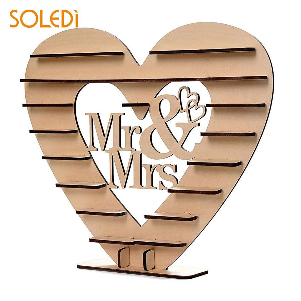 Wooden Ferrero Rocher Mr & Mrs Showing Stand Display Stand Heart-Shaped Chocolate Holder Decorate Creative Beautiful Economic