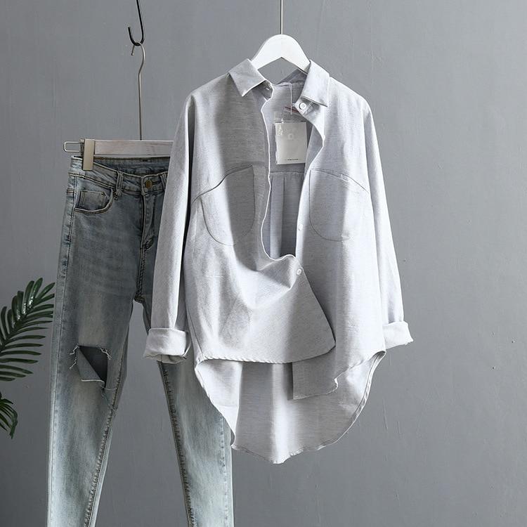 Blouse Korean Long Sleeve Tops And Blouses Vintage Women Shirts 19