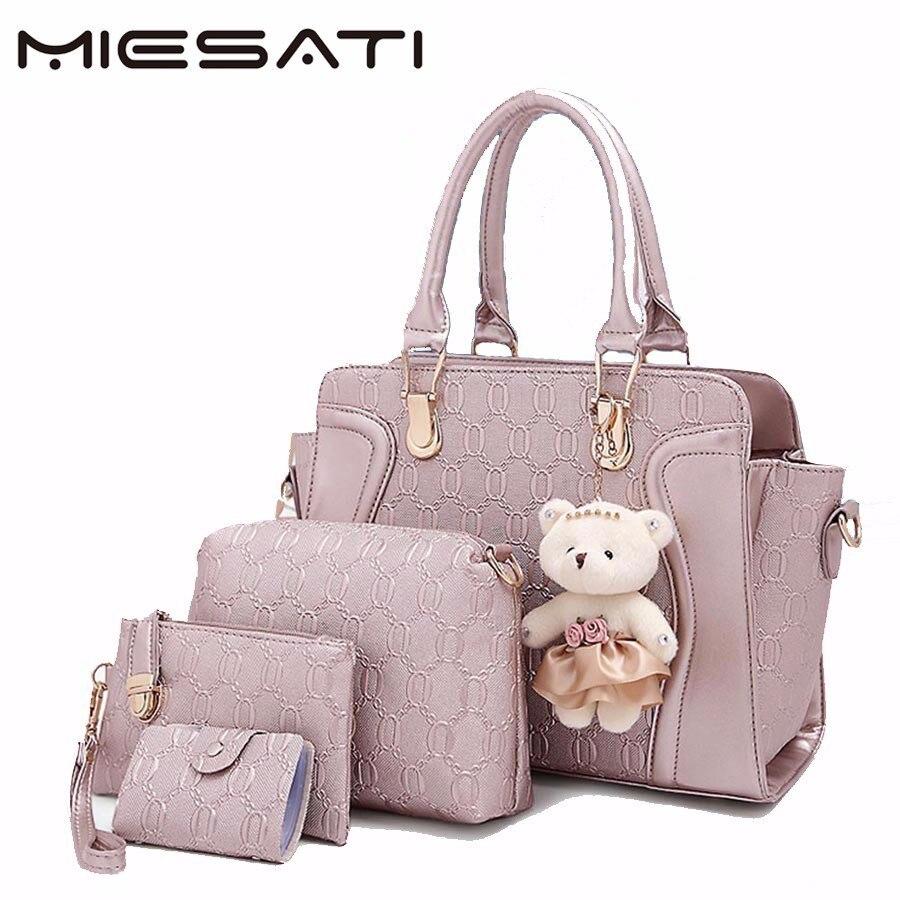 MIESATI 4 Tote Bag/Set Fashion Handbags 2017 Handbag Top-Handle Bags Female Luxury Brand Leather Bag Ladies Hand Bags