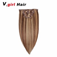 V.girl Hair Brazilian Human Hair extensions Full Head Clip in Human Hair Extensions #4/27 Medium brown/Dark Blonde 100G 200G