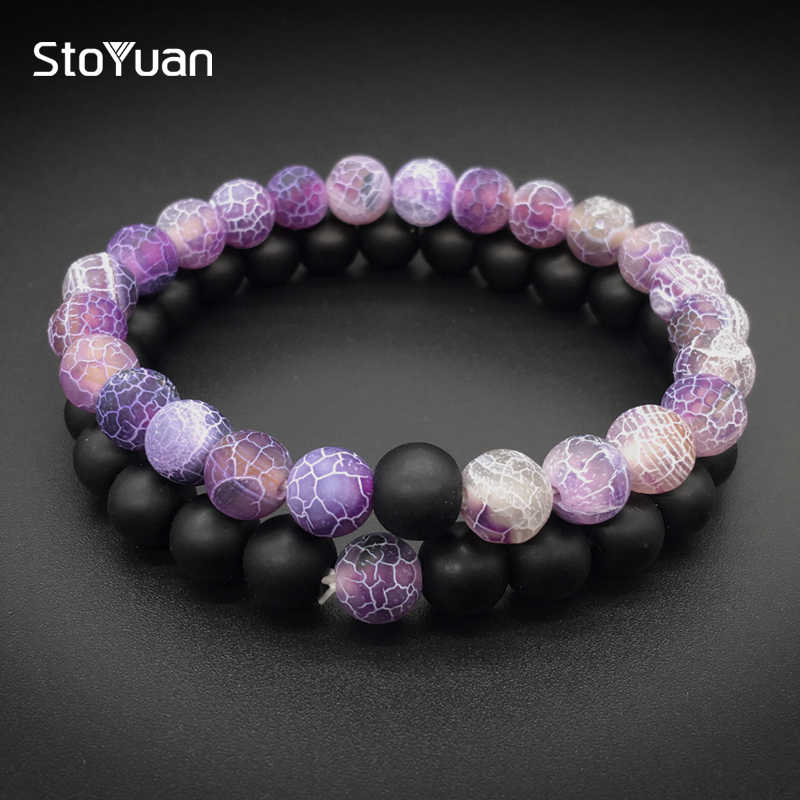 2Pcs/Set Natural Stone Fashion Distance Bracelets For Couple  Weathered Stone Yin Yang Buddha Strand Bracelet Men Women Jewelry