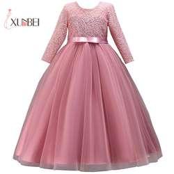 Бальное платье принцессы с длинными рукавами, кружевные платья с цветочным узором для девочек, коллекция 2019 года, длина до пола, фатиновые