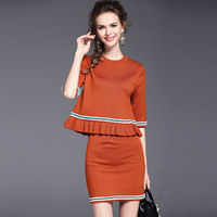 Knitted Dress Womens Two Piece Suits Casual Elegant Rullffes Half Sleeve LMini Dresses 2 Colors Women