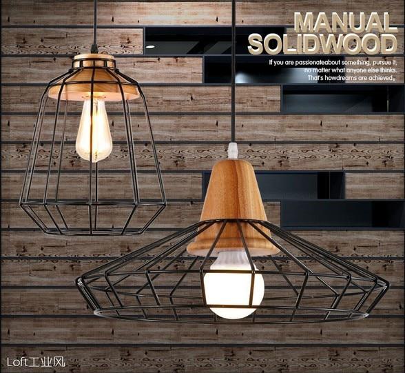 Simple Loft Style Wood Iron Art Droplight Modern Led Pendant Light Fixtures For Living Dining Room