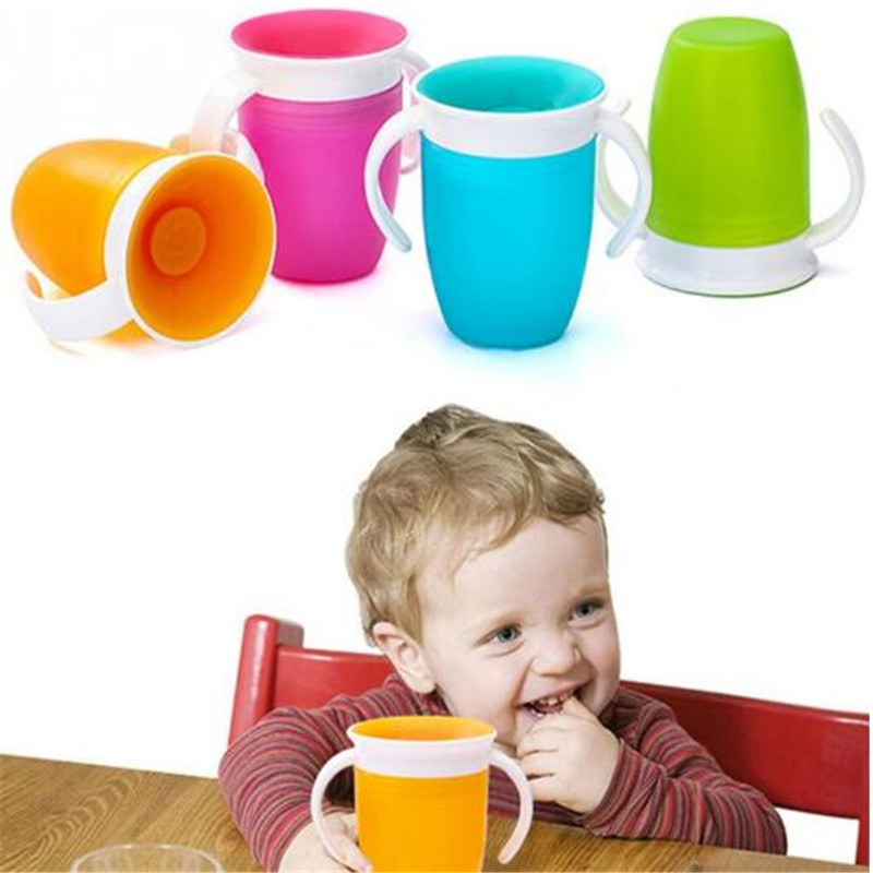 240ML Water Cup 360 Degree Free Rotate Baby Learning Drinking Cups With Double Handle Flip Leakproof Infant Water Cups Bottle