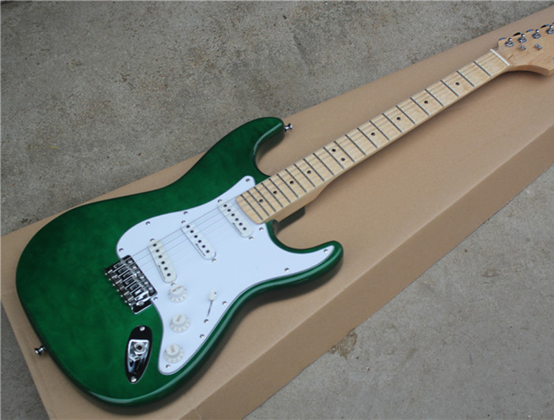 Green Electric Guitar with White Pickguard,3S Pickups,Maple Fretboard,Scalloped Neck,Gold Hardwares,offering customized servicesGreen Electric Guitar with White Pickguard,3S Pickups,Maple Fretboard,Scalloped Neck,Gold Hardwares,offering customized services