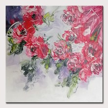 Mintura Paintings for Living Room Wall Art Canva Painting Bright Red Flowers Art Hand Painted Poster Decorative Poster No Framed(China)