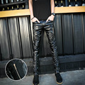 Black Men Casual PU Leather Pant 2017 Spring Slim Fit Hip Hop Faux Leather Singer Pants Skinny Mens Trousers Men's Clothing 33