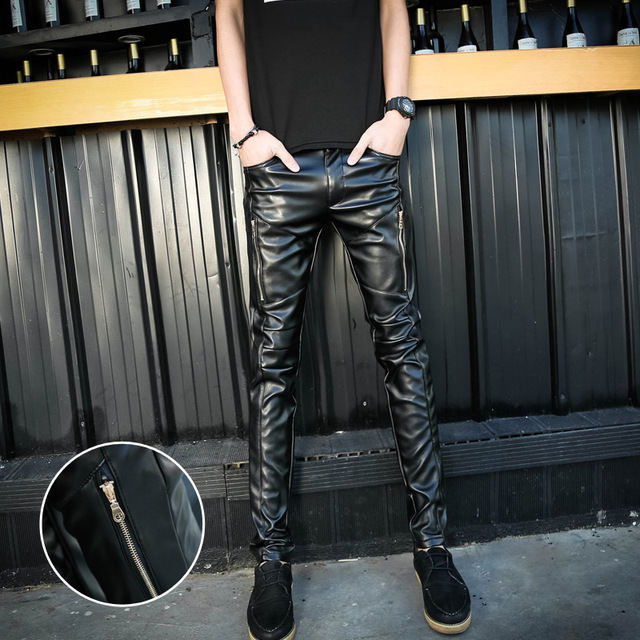 Black Men Casual PU Leather Pant 2017 Spring Slim Fit Hip Hop Faux Leather Singer Pants Skinny Mens Trousers Men's Clothing 33